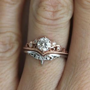Rose Gold & White Gold Sapphire Ring Set